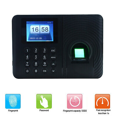 Time Recorder Clocking Attendance In USB Clock Machine Fingerprint + Password • 20.42£