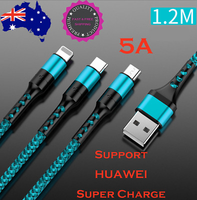 AU9.95 • Buy 3 In1 Premium Super-Charging 5A Cable Android Type-C IPhone Micro-USB