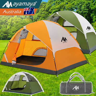 AU129.99 • Buy Camping Tent 4 Person Instant Pop Up Family Hiking Waterproof Double Layer Dome