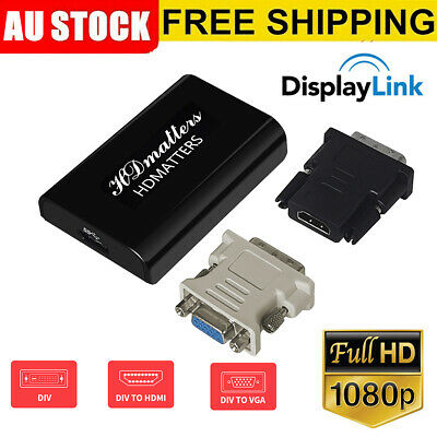 AU35.71 • Buy 3-in-1 USB 3.0 To HDMI DVI VGA Converter Displaylink IC Adapter For Win10/8/7/XP