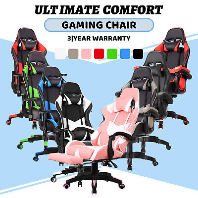 AU149.90 • Buy Gaming Office Chair PU Leather Executive Racing Footrest Computer Seat Backrest