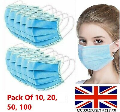 Face Mask Surgical Disposable 3 Ply Layer Medical Mouth Covering Masks • 4.99£