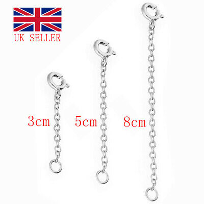 £1.55 • Buy 925 Sterling Silver 1/2/3  TRACE CHAIN EXTENDER (bracelet, Necklace Extension) T