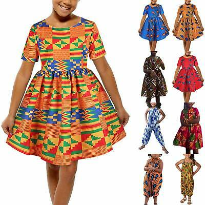 African Print Girls Swing Dress Summer Short Sleeve Party Dress Jumpsuit Outfit • 10.16£