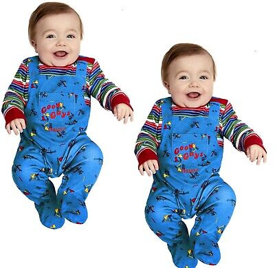 £16.99 • Buy Chucky Baby Costume Babies Halloween Chucky Doll Fancy Dress Outfit 0-12 Mnths