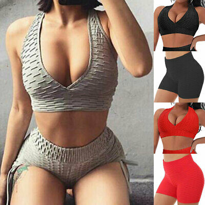 Womens Yoga Gym Anti-Cellulite Shorts Leggings Bra Push Up Top Sports Pants Suit • 7.59£