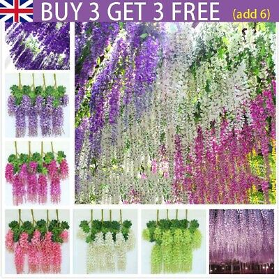 £3.99 • Buy Artificial Wisteria Flowers Fake Silk Hanging Rattan Vine Flower Wedding Decor