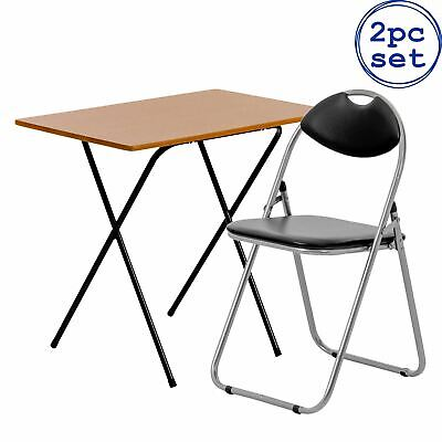 AU62.95 • Buy Folding Desk Chair Set Small Home Office PC Laptop Wooden Top Natural/Black