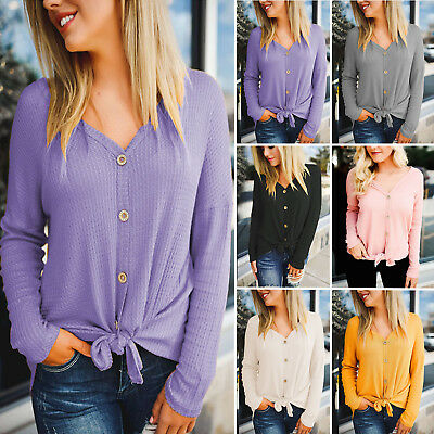 Women Long Sleeve Button Up Shirts Front Tie Up V Neck Tops Ladies Casual Blouse • 13.59£