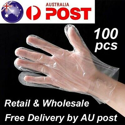 AU3.99 • Buy 100pcs Disposable Plastic Gloves Transparent Food Handling Hygienic Clear Bulk