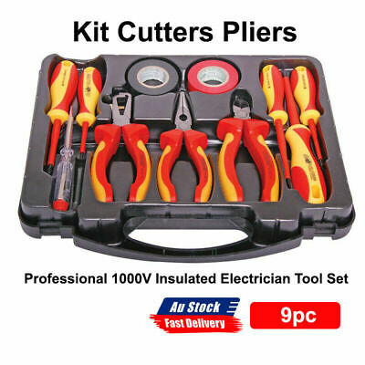 AU68.69 • Buy NEW Professional 1000V Insulated Electrician Tool Set 9pc Kit Cutters Pliers