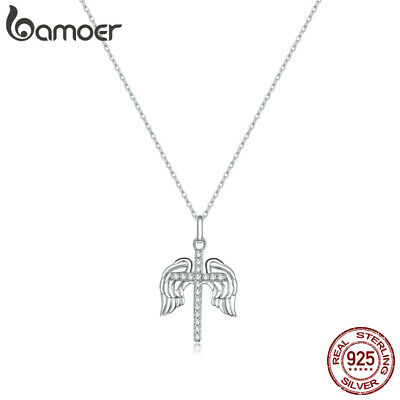 AU18.91 • Buy BAMOER S925 Sterling Silver Charm Necklace Holy Cross Chain For Women Jewelry
