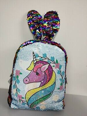 AU28.99 • Buy Double Side Sequin Backpack Unicorn Lovely Students Shoulder School Bags