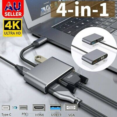 AU23.99 • Buy Docking Station 4-in-1 Multi Type C USB3.1 To HDMI+VGA+PD+USB3.0 HUB Adapter AU