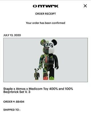 $250 • Buy MEDICOM TOY BE@RBRICK Atmos X STAPLE #3 100% & 400% 20SU-S Rare Bearbrick NTWRK
