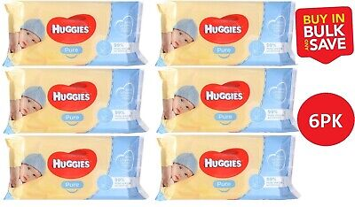 AU34 • Buy 6 X Huggies Pure Baby Wipes PK56 Unscented (336 Wipes)