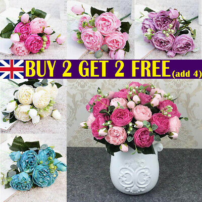 £5.49 • Buy 9 Heads 1 Bouquet Artificial Peony Rose Silk Fake Flowers Home Wedding Decor UK