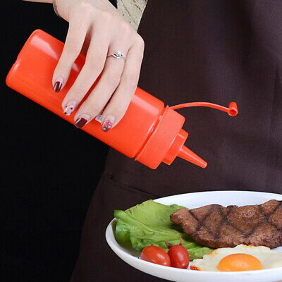 Plastic Squeeze Squirts Bottles Ketchup Mustard Hot Sauces Olive Oil Bottle  UK • 1.69£