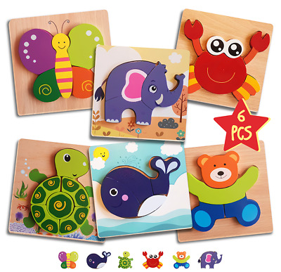 £8.95 • Buy 6 Pack Kids Wooden Funny Toys Wood Animal Puzzle Learning Educational Jigsaw Toy