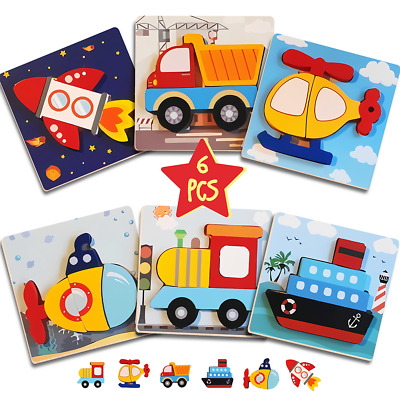 £8.95 • Buy 6 Pack Kid Wooden Funny Toys Wood Vehicle Puzzle Learning Educational Jigsaw Toy