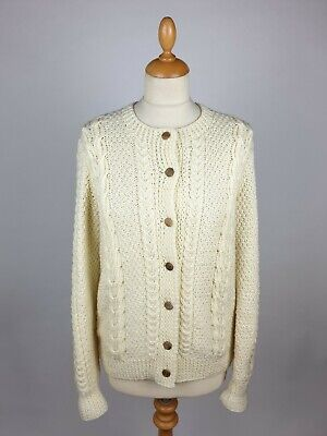 Aran Woollen Cable Knit Button Front Crew Neck Cardigan In Cream - 36  • 38£