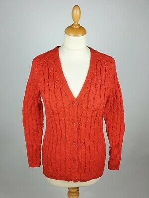 Aran Woollen Cable Knit V Neck Button Front Cardigan In Blood Orange - 34  • 38£