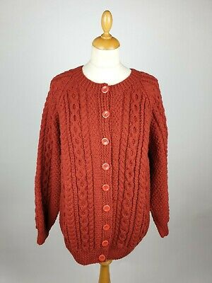 Aran Woollen Cable Knit Crew Neck Button Front Cardigan In Rusty Brown - 46  • 42£