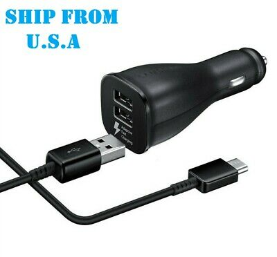 $ CDN8.77 • Buy FAST Dual Car Charger & CABLE For Samsung Galaxy A10E A21 A01 A71 Note 10 S9 BLK
