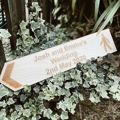 Wedding Welcome Sign Personalised Large Rustic Wooden Wedding This Way Arrow  • 20£