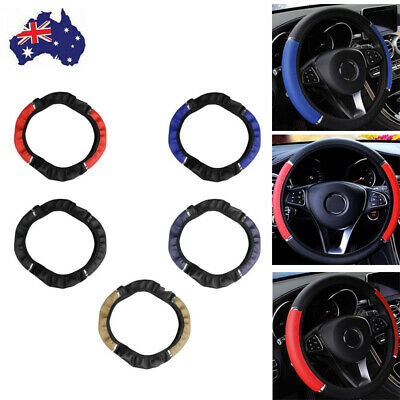 AU9.99 • Buy 15inch/38cm PU Leather Car Steering Wheel Cover Anti-slip Protector Accessories