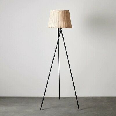 AU149.99 • Buy Tall Wicker Floor Tripod Lamp With Basket Style Lamp Shade Foot Operated Switch
