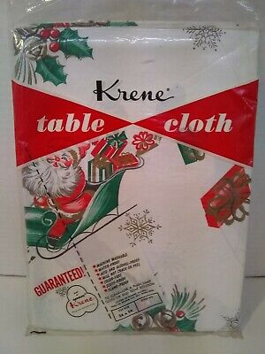 $ CDN19.99 • Buy Vintage Christmas Plastic Tablecloth NOS 1950s Great Design 54x54 #7 Of 10