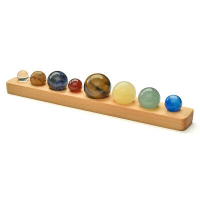 Natural Gemstone Crystal Miniature Solar System Globe 8 Planets + Wooden Stand • 18.49£