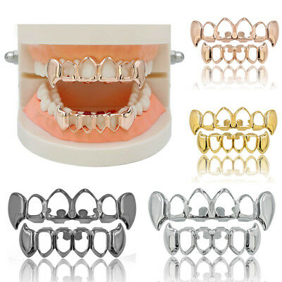 Fashion Hip Hop Teeth Grills Gold Plated Mouth Caps Top Bottom Set Tooth  • 7.88£