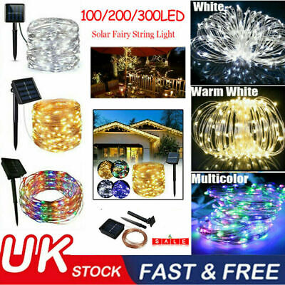 LED Solar String Light Lights Waterproof Copper Wire Fairy Outdoor Garden Party • 10.95£