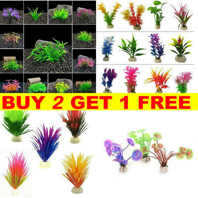 Artificial Fake Grass Fish Tank Aquatic Aquarium Plants Flower Plastic Ornament • 1.25£
