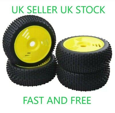 😀1/8 Scale Rc Car Buggy Wheels Rims & Tyres Yellow Tires Hsp Hpi😀 • 22.99£