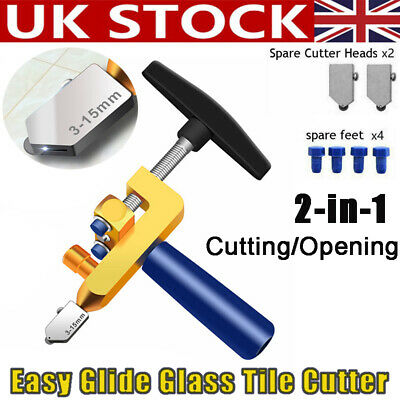 2-in-1 Easy Glide Glass Tile Cutter One-Piece Aluminum Alloy Professional Tool • 9.99£