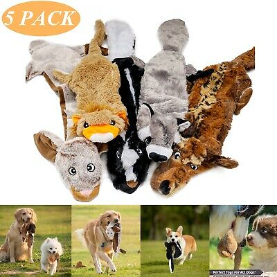 5 PACK Dog Puppy Pet Chew Squeaker Squeaky Funny Sound Plush Toy Play Toys Lot • 12.99£