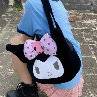Women Girls Kuromi Plush Tote Handbag Kawaii Shoulder Bags Mini Soft Coin Purse • 9.98£