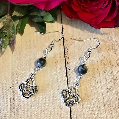 🖤Celtic Knot Earrings 925 Silver Black Obsidian Wiccan Witch Vintage Protection • 5.49£