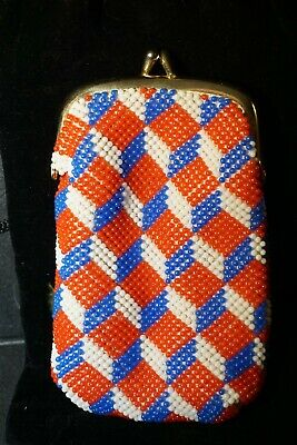 AU11.24 • Buy Vintage Red White And Blue Beaded Cigarette Case Vape Pen With Kisslock Type Clo