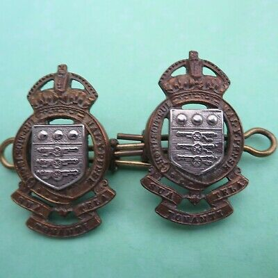 The Royal Army Ordnance Corps RAOC Military Pair Of Collar Badges • 8.50£