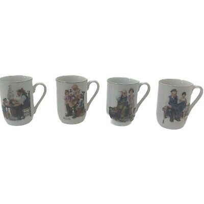 $ CDN26.42 • Buy Vintage Norman Rockwell Museum Coffee Cup Mugs Set 4 From 1982