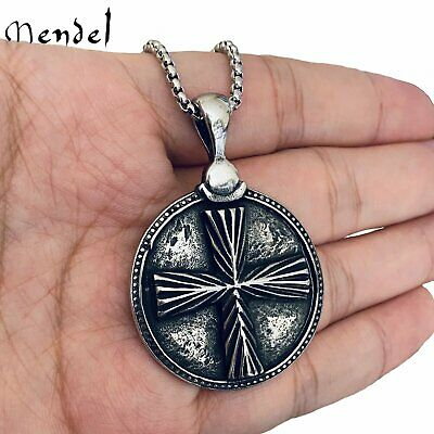 $11.99 • Buy MENDEL Mens Stainless Steel Vintage Style Round Christian Cross Pendant Necklace
