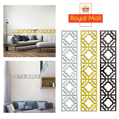 10pcs 3D Mirror Wall Tile Stickers Kitchen Bathroom Self-adhesive Decor 10x10cm • 2.99£