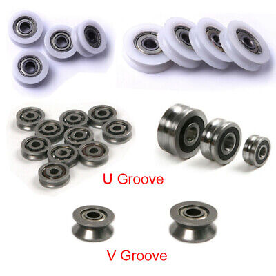 £4.39 • Buy U/V Grooved Nylon Pulley Wheels Roller Rope Ball Bearing Wire Guide Roller 1/4X