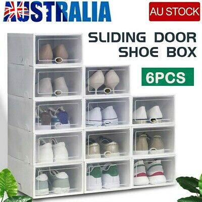 AU18.98 • Buy AU 6pcs Clear Door Cube DIY Shoe Cabinet Rack Storage Stackable Organiser Drawer