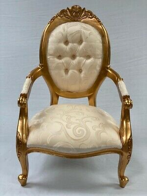 Ornate Gold Leaf Wedding Home Throne Arm Chair  Pale Creamy Gold Fabric Bedroom  • 425£