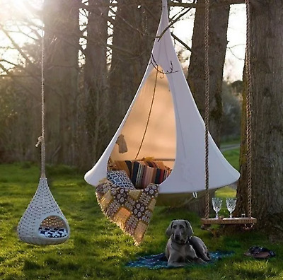 Shape Teepee Tree Hanging Swing Chair For Kids & Adults Indoor Outdoor Tent • 136.03£